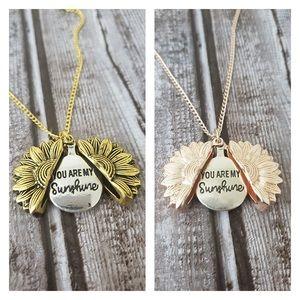 Rose Gold Tone Sunflower Locket Necklace
